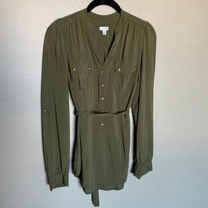Anthro Odille olive tab sleeve long sleeve blouse